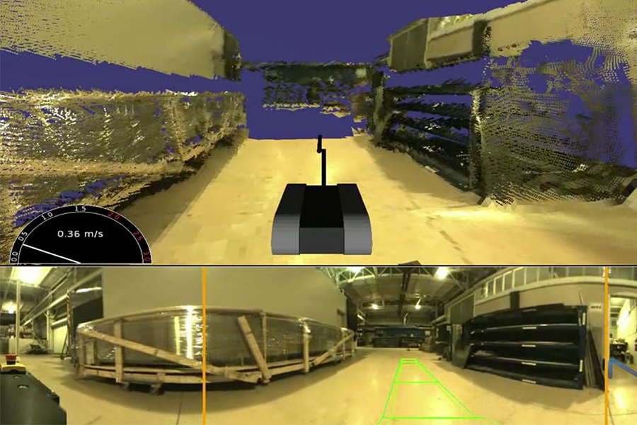 NREC's miniaturized Situational Awareness Through Colorized Ranging (SACR) system fuses video and range data from a small panoramic camera ring and scanning LADAR sensor